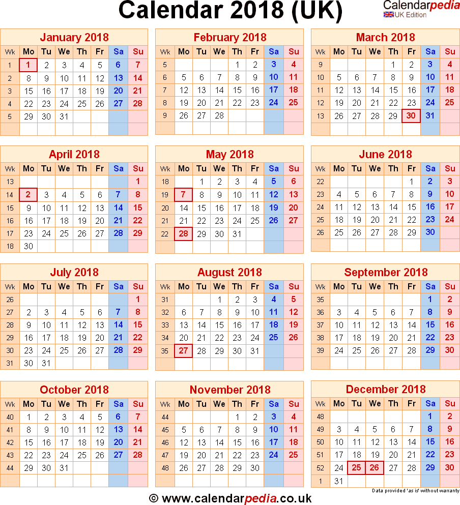 federal holidays UK 2018