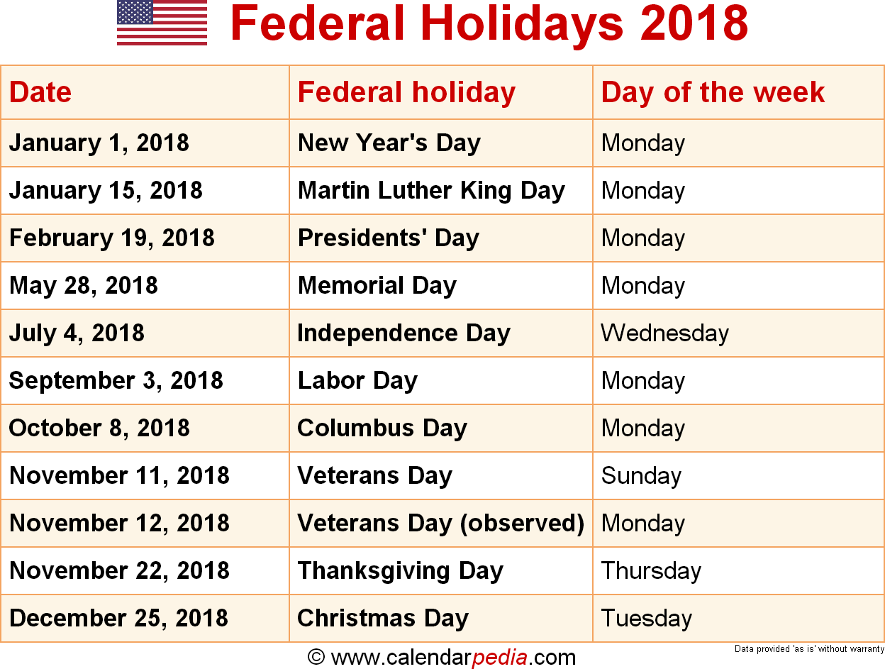 federal holidays USA 2018