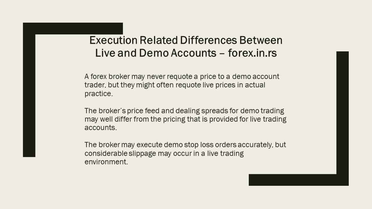 execution real vs demo account