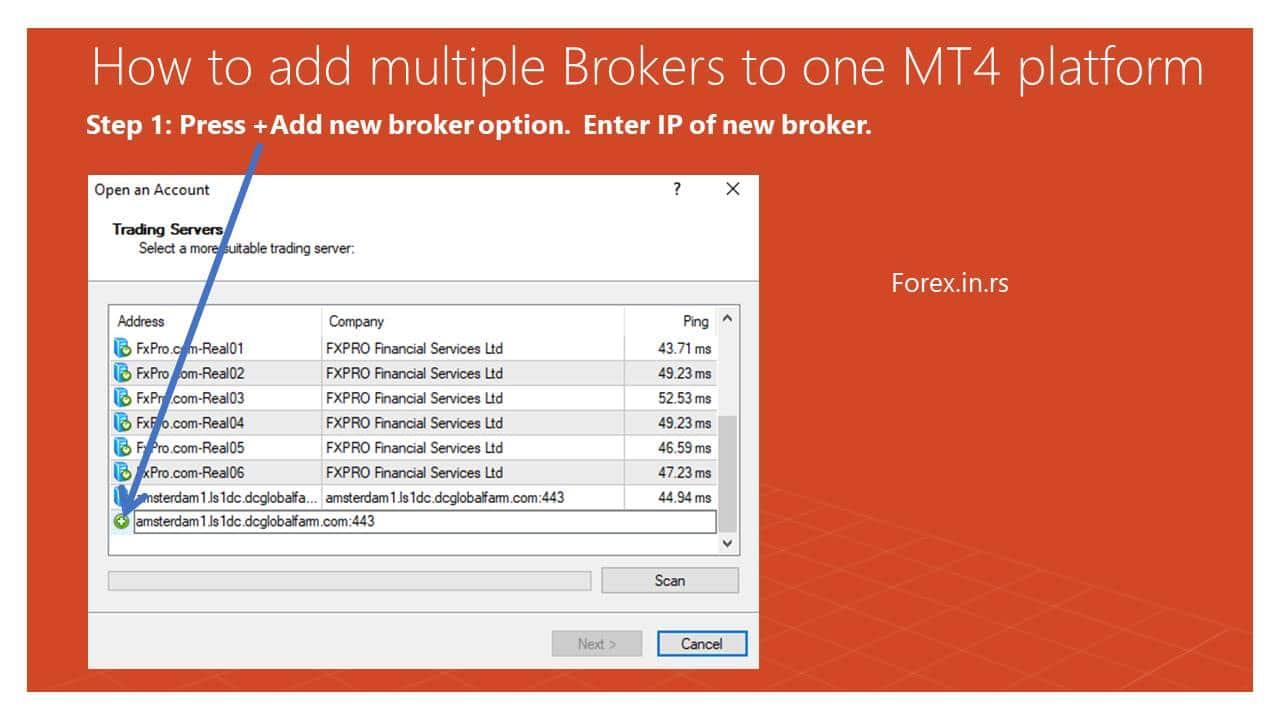 add new broker IP or new broker name to mt4