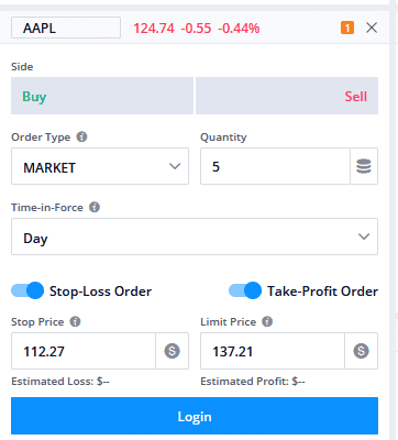 How to set stop loss on Webull