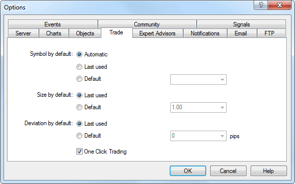 enable one click trading in MT4